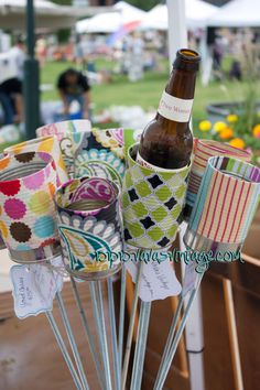 Yard Cozies, place in the yard or potted plant to hold your beer or soda, upcycled, fun outdoor on Etsy, $10.00