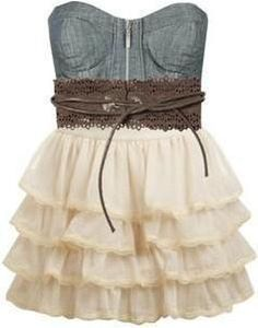 Denim and Lace...OMG this is SOOOO cute! with a pair of cute cowboy boots...would be so perfect for my house themed party!!