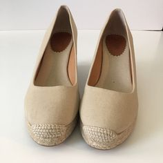 "J. Crew Espadrilles J. Crew wedge heel height 3 1/4"".  In excellent condition like new, canvas nude color J. Crew Shoes Espadrilles"