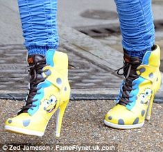 Nike Spongebob shoes!!!  I don't know how she rocked these because if I saw them on a rack I would think no one can pull them off