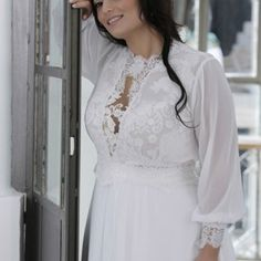 Long Bishop Sleeve Wedding Dress with Illusion Neckline BY Darius Cordell