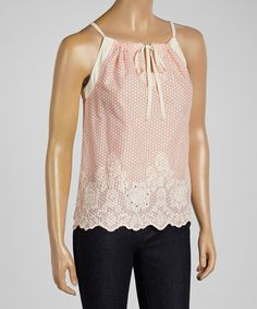 Loving this Pink Polka Dot Scalloped Sleeveless Top on #zulily! #zulilyfinds