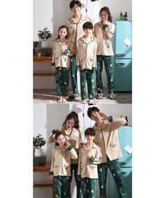 Parent-child pajamas long-sleeved trousers family wear cartoon home service Adult Onesie Pajamas, Matching Christmas Pajamas, Kids Board, Cotton Silk, Kids And Parenting, Pjs, Night Gown, Sexy Lingerie, Boy Or Girl