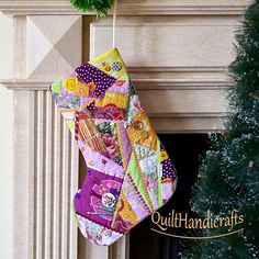 Christmas stocking Quilted Patchwork Christmas décor Style crazy Christmas boot in pink colors Unique gift Holiday home decoration Custom - pinned by pin4etsy.com
