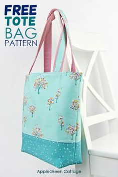 Tote Bag Pattern – Free Tote Pattern In 2 Sizes – AppleGreen Cottage The prettiest free tote bag pattern – in 2 sizes! Check out my favorite tote bag pattern and see how to make a tote bag. By far the best free pattern for tote bag at AppleGreen Cottage. Tote Pattern, Bag Patterns To Sew, Pattern Sewing, Quilted Bags Patterns, Easy Tote Bag Pattern Free, Duffle Bag Patterns, Purse Patterns Free, Handbag Patterns, Wallet Pattern