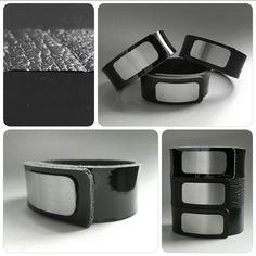 Wear Clint - Tuigleren armbanden (25mm) met RVS-sluiting in de kleuren zwart, zwart lak en zwart krakelee. Lak, Cuff Bracelets, Ready To Wear, How To Wear, Jewelry, Jewlery, Jewerly, Capsule Wardrobe, Schmuck
