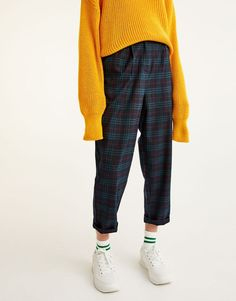 Pull&Bear - mujer - ropa - most wanted - pantalón jogging cuadros - marino - 09681342-I2017