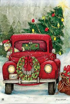 Country Christmas pickup truck themed garden flag with an antique red truck hauling a freshly cut Christmas tree home to decorate for the Holidays. Christmas Garden Flag, Christmas Red Truck, Merry Christmas, Christmas Yard Decorations, Christmas Scenes, Vintage Christmas Cards, Country Christmas, Christmas Holidays, Christmas Ornaments