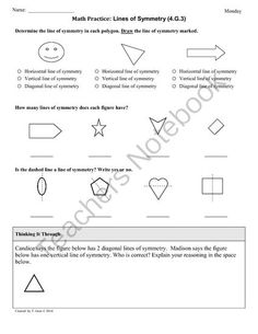 (4.G.3) Symmetry: 4th Grade Common Core Math Worksheets from CommonCoreResources on TeachersNotebook.com -  (10 pages)  - This particular set of sheets focuses on: 4.G.3 - Recognize a line of symmetry for a two-dimensional figure as a line across the figure such that the figure can be folded along the line into matching parts. Identify line-symmetric figures and draw lines o