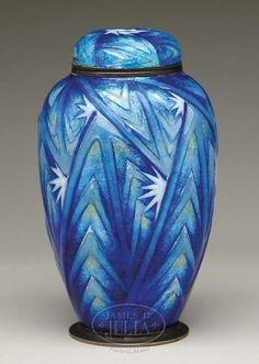 Lot 21. FINE AND RARE CAMILLE FAURE LIMOGES ART DECO COVERED JAR. (29883)