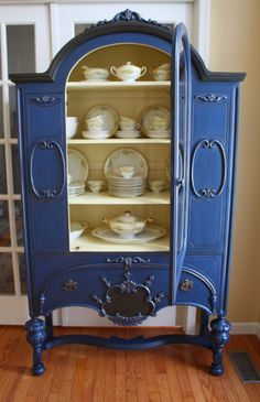 The Black Sheep Shoppe: Depression Era China Cabinet. Napoleon Blue and Cream with Graphite accents. (Annie Sloan Chalk Paint)