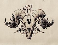 Ink Skull Drawing by Marija Tiurina