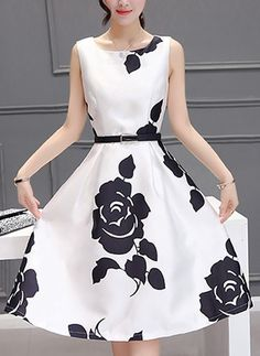 Floral Ruffles Skater Knee-Length A-line Dress
