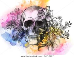 Watercolor Skull by Tairy Greene; would be great for a tattoo
