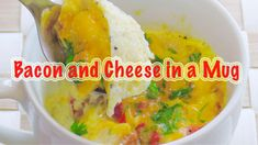 How to make bacon and cheese in a mug #mugrecipes #microwaverecipes Easy Cooking, Cooking Recipes, How To Make Bacon, Mug Recipes, Microwave Recipes, Quick And Easy Breakfast, Few Ingredients, Breakfast Recipes, Easy Meals