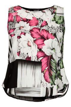 Floral Grid Split Shell Top - Skate Away - Clothing Diy Fashion, Fashion Dresses, Shell Tops, Casual Tops For Women, Neck Wrap, Future Fashion, Cute Tops, Fashion Prints, Floral Prints