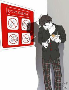 Akira Kurusu thug or. Look at his shadow, joker is totally smug about breaking the rules. <<< Joker breaks all the rules. Persona Five, Persona 5 Memes, Persona 5 Joker, Gato Anime, 5 Anime, Anime Guys, Anime Art, Ren Amamiya, Shin Megami Tensei Persona