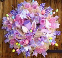 Easter Wreath  Spring Wreath  Deco Mesh by FestivalofWreaths