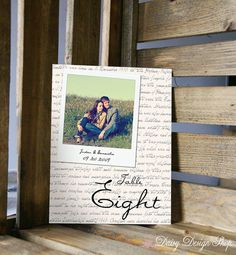 Table Number Card - Polaroid Style Photo with Script Background - 5x7 or 4x6 Card
