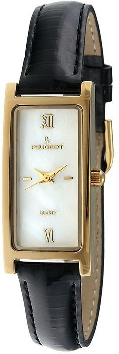 Peugeot gold-tone mother-of-pearl leather watch - women