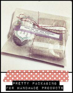 Pretty packaging idea for homemade products - glassine envelope, washi tape and baker's twine!