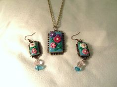Polymer clay Applique Pendant and Earrings by TheRedCrab on Etsy