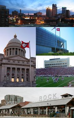 Little Rock skyline, William J. Clinton Presidential Library, War Memorial Stadium, the River Market District, and the Arkansas State Capitol