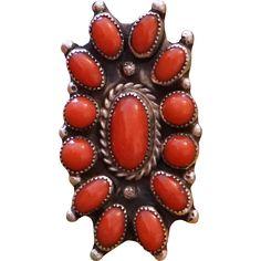 Vintage Coral Cluster Ring found at www.rubylane.com @rubylanecom