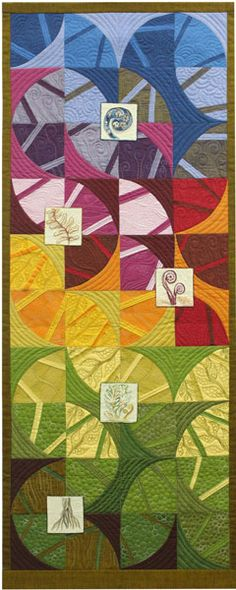 "A quilt by New Zealander Annie White. ""Unfurling"". The fern seen in this design is a national symbol of New Zealand."
