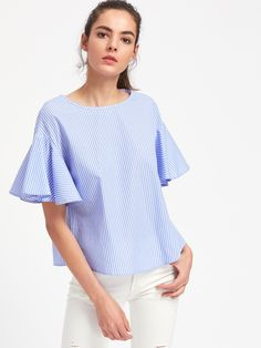 To find out about the Drop Shoulder Flutter Sleeve Striped Top at SHEIN, part of our latest Blouses ready to shop online today! Sewing Blouses, Smocks, Casual Outfits, Fashion Outfits, Dress Sewing Patterns, Elegant Outfit, Blouse Styles, Fashion Boutique, Clothes For Women