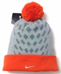 New NIKE ELITE POM BEANIE Orange/Gray/Silver Winter Knit Ski Hat Men/Women OSFA #Nike #Beanie