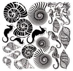 Shells And Seahorse Decals Decals Black Enamel Decals Glass Decals Ceramic  Decals