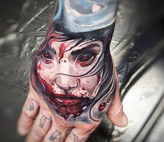 Blody Face tattoo by Tyler Malek Holy Tattoos, Wicked Tattoos, Badass Tattoos, New Tattoos, Sick Tattoo, Tattoo Pain, Venom Tattoo, Ink Master, World Tattoo