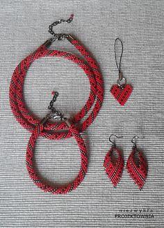 Komplet biżuterii koralikowej #beadcrochet #jewelry #necklace #bracelet #earrings #