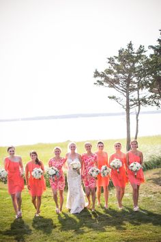 Summer Wedding | Bridesmaids In Coral and Orange | Photography: Zev Fisher Photography