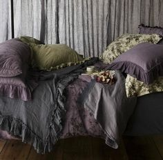 Purple and green with grey bedroom would be great with the photos I want to hang.
