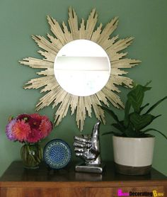 Loving the gilded touch on this sunburst mirror crafted from wood | DIY Decor Projects Worth Tackling in 2016 | POPSUGAR Home
