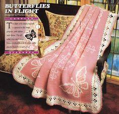 Butterflies Afghan Crochet Pattern  So Pretty por PaperButtercup, $5.00