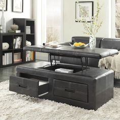 Black Living Room Table Sets with Beautiful Decor — Tops Givdo Lift Up Coffee Table, Storage Ottoman Coffee Table, Coffee Table With Drawers, Cool Coffee Tables, Coffee Table Design, Modern Coffee Tables, Living Room Table Sets, Home Furniture, Furniture Ideas
