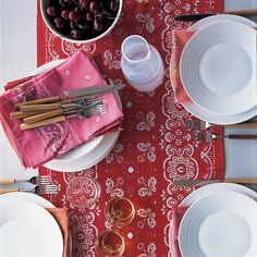 Rugged and practical, bandannas seem almost patriotic, so this table runner is fitting for the Fourth of July.
