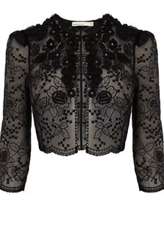 Embroidered organza cropped jacket with sleeves and flower and stud applique detail. Add some texture to your look with this lace jacket with cute flowe… Studded Jacket, Lace Jacket, Bolero, Dressed To The Nines, Embroidered Jacket, Lace Embroidery, Couture, Occasion Wear, Karen Millen