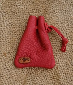 Red Drawstring Leather Pouch - Hand Cut, Punched and Stitched