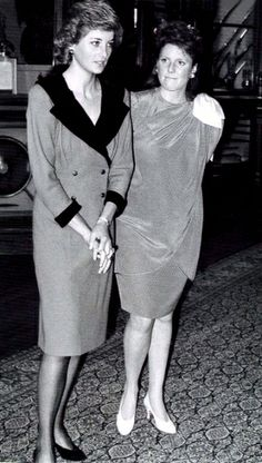 1988-04-12 Diana and Sarah at a Welcoming Reception for King Olav of Norway, Windsor Castle