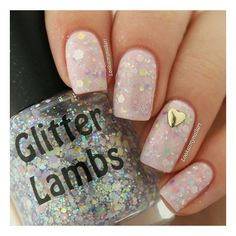 Marshmallow ABC's Glitter Indie Nail Polish by Glitter Lambs (7.78 CAD) ❤ liked on Polyvore featuring beauty products, nail care, nail polish, nails, makeup and unhas