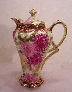 nippon chocolate pot   Fabulous Vintage Nippon Chocolate Pot Hand Painted Mums