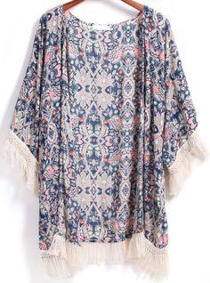 Kimono pampilles décontracté floral -bleu  17.48