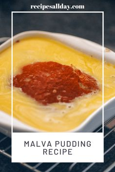 Malva pudding recipe. This spongy pudding with its hot syrup is delicious on cold evenings - or absolutely any time. The fact that it is so rich and sweet should not prevent you from going all the way when you serve it with custard, ice cream or cream or even all three. Best served warm. #dessertrecipe #malvapuddingrecipe Pudding Recipes, Cake Recipes, Dessert Recipes, Malva Pudding, African Dessert, Chocolate Zucchini Bread, Sticky Toffee, Milk And Eggs, Xmas Ideas
