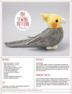 This item is a digital download for a plush toy sewing pattern in .pdf form. Absolutely no physical items will be sent. Please read the entire listing before purchasing. For my full range of products, please visit my website at www.BeeZeeArt.com This cockatiel sewing pattern will help you