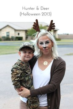 creative DIY Halloween costumes for moms Hunter and deer costume plus 14 more creative DIY mom costumesHunter and deer costume plus 14 more creative DIY mom costumes First Halloween Costumes, Mom Costumes, Hallowen Costume, Halloween Kostüm, Costume Ideas, Mother Son Costumes, Matching Family Halloween Costumes, Baby Deer Costume, Halloween Costumes For Babies