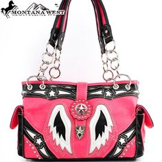 Amazon.com: Montana West Western Star Studded Turn Over Top Laser Cut Wing Shape Embroidered Small Round Rivet Studded Handbag Purse in Pink and Black: Clothing $45.99